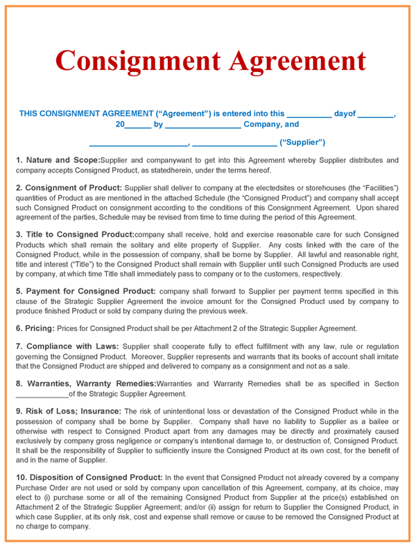 Consignment Agreement Template  Consignment Contracts Template