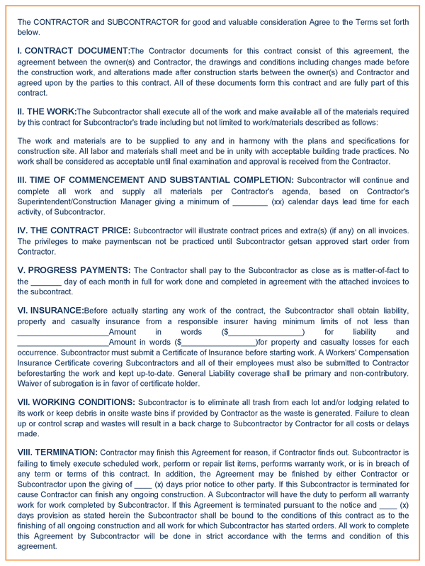 Construction Agreement Sample - Building contractor agreement template