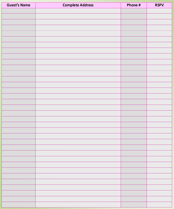 List Template – Printable Guest List Template