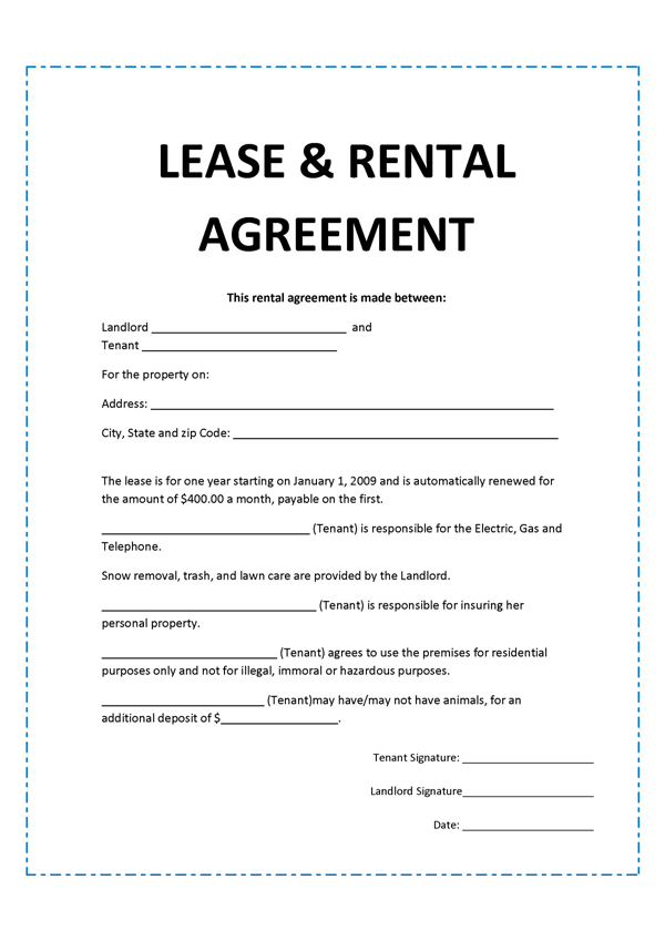 Agreement Template – Format of Lease Agreement