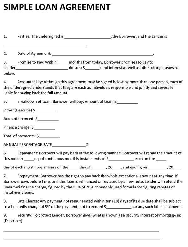 Agreement Template – Template for a Loan Agreement