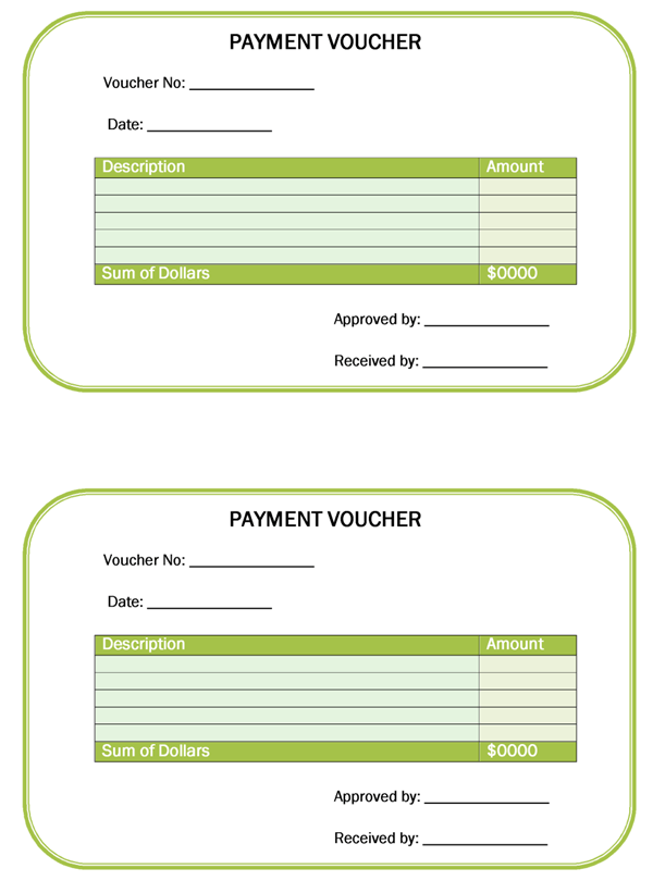 Voucher Template – Sample Payment Voucher Template