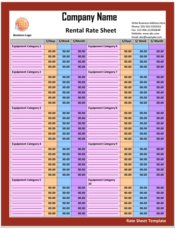Sheet Template – Rate Sheet Template