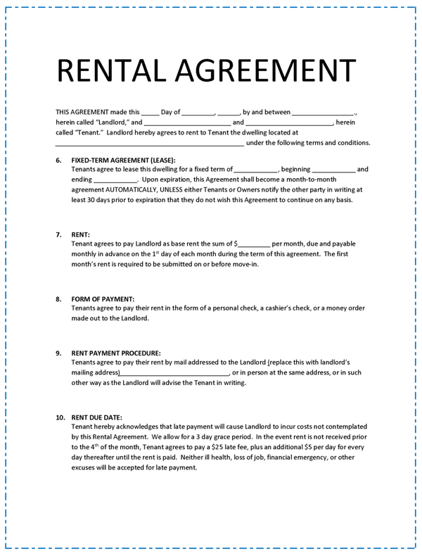 Doc592799 Printable Rental Agreement Printable Sample Lease – Basic Rental Agreement Letter Template