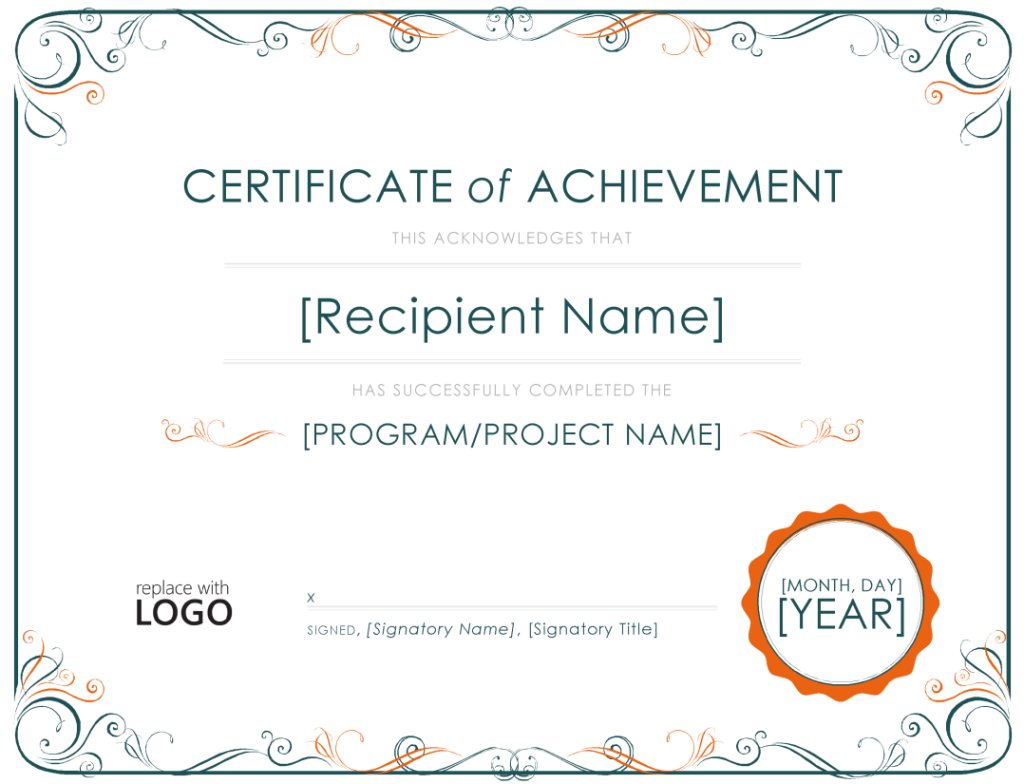 Achievement certificate template for Certificate of attainment template