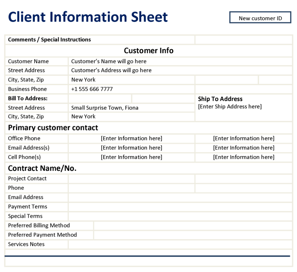 Client information sheet template for Client information sheet template excel
