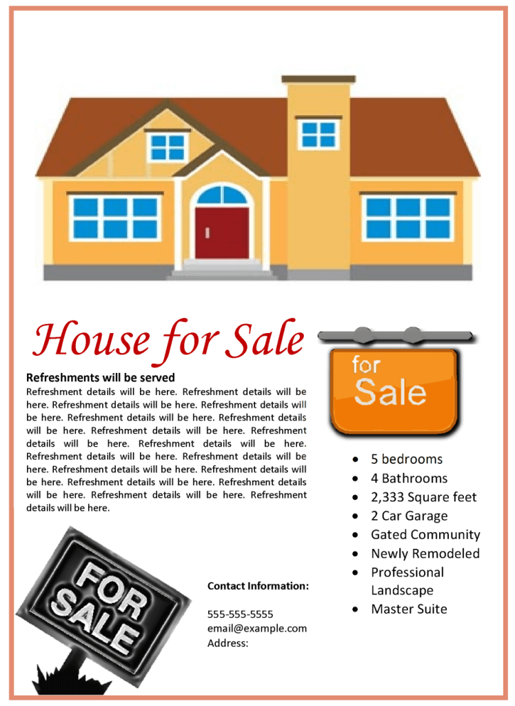 House for sale flyer template for House for sale brochure template