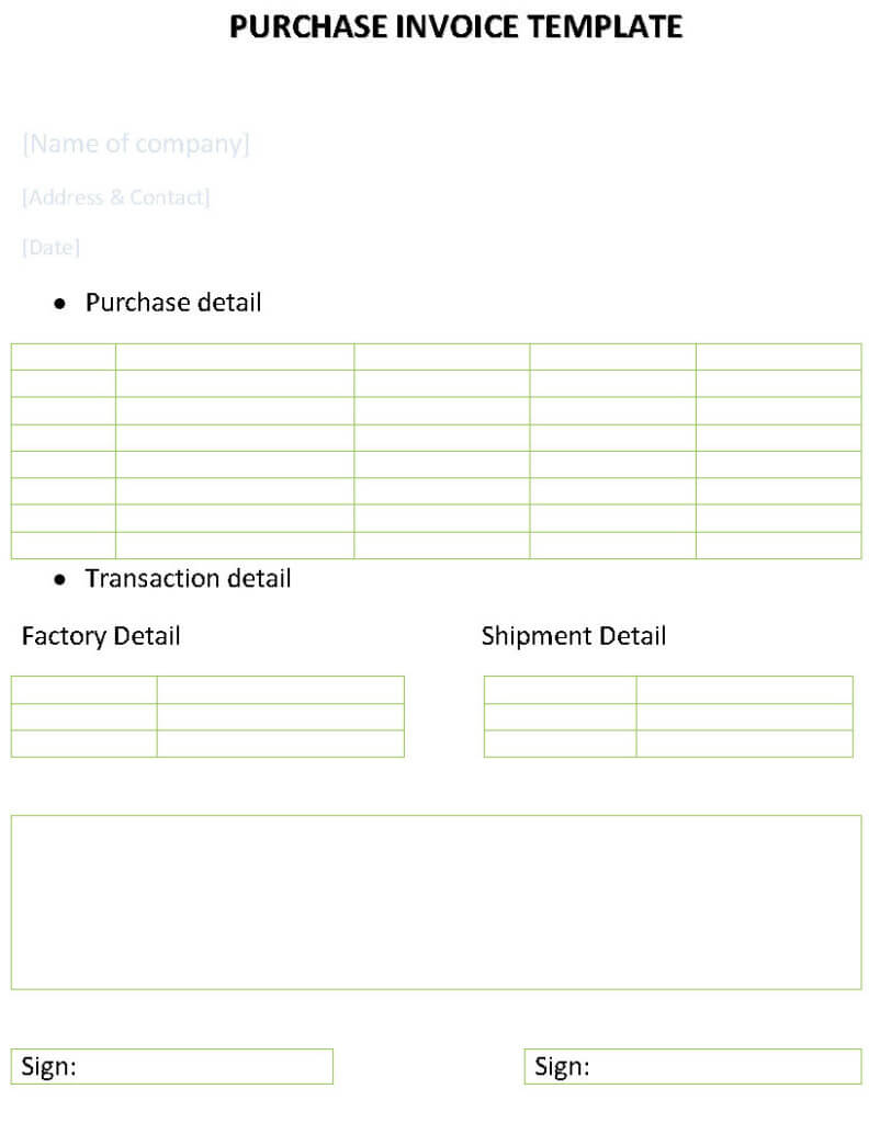 Purchase invoice template for Buy invoice template