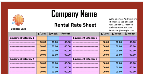 Rate Sheet Template – Rate Sheet Template