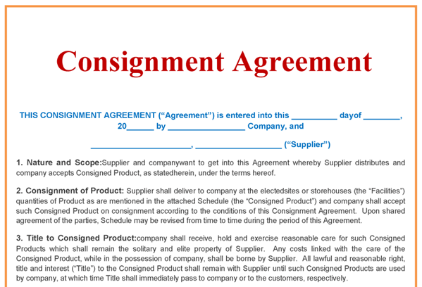 Consignment Agreement Consignment Agreement Contract