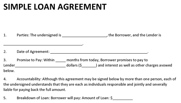 borrow money contract template - loan agreement template