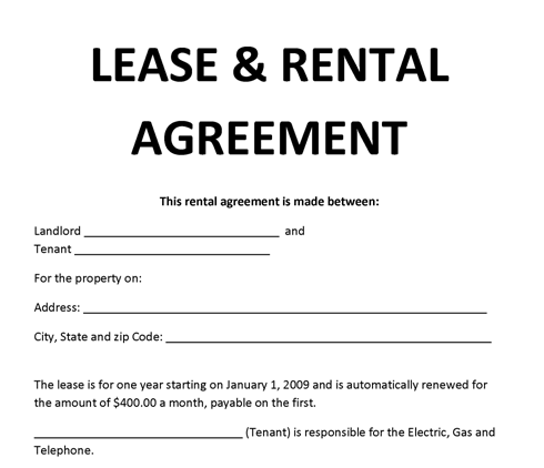 Printable Templates  Microsoft Word Rental Agreement Template