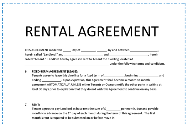 Rental Agreement Template E1449243509527g