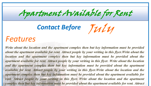 Rental Apartments Flyer